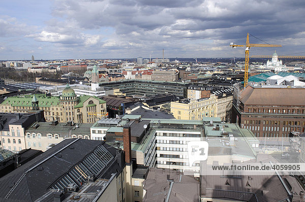 Panoramic view from Hotel Tornin towards Helsinki Cathedral  Helsinki  Finland  Europe