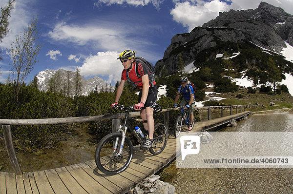 Mountainbiker auf Holzbrücke am Seebensee  Ehrwald  Tirol  Österreich  Europa