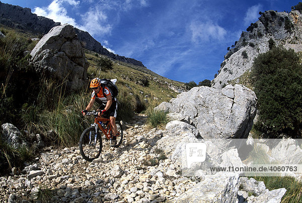 Mountain biker on Mt Puig Major  Majorca  Spain  Europe