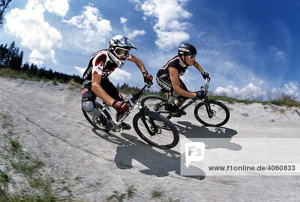 Mountain biker  Geisskopf Bikepark  Bischofsmais  Bavarian Forest  Bavaria  Germany  Europe