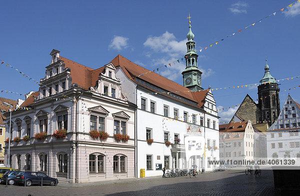 Markt,  Rathaus,  Stadtkirche St. Marien,  Pirna,  Sachsen,  Deutschland,  Europa