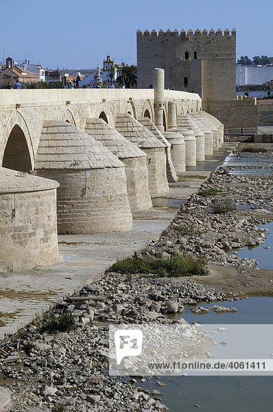 Puente Romano  Brücke  mit Torre de la Calahorra  Turm  Cordoba  Andalusien  Spanien  Europa