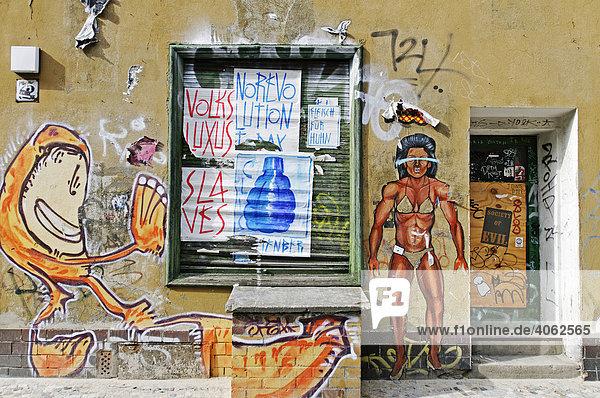 Bemalte Fassade mit Graffiti  Bezirk Mitte  Berlin  Deutschland  Europa