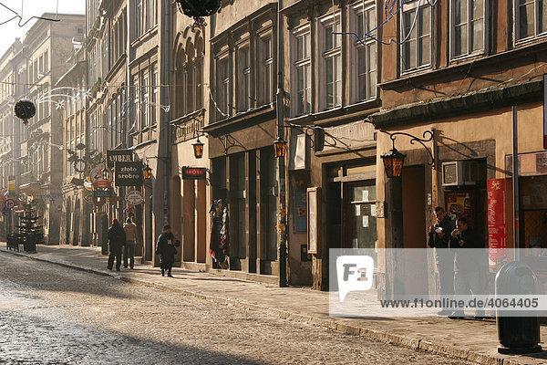 Ansicht der alten Grodzka-Straße  Krakau  Polen  Europa