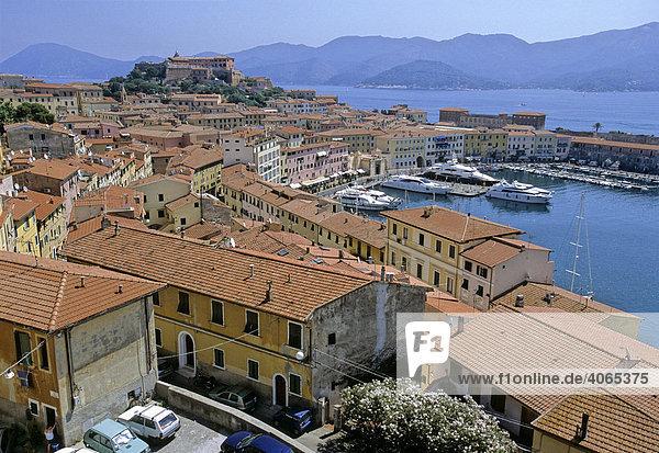 Forte Stella  Darsena harbor  Portoferraio  Island of Elba  province of Livorno  Tuscany  Italy  Europe