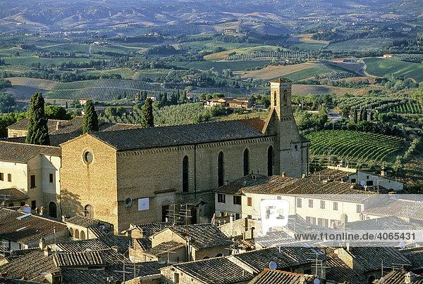 Kirche Sant' Agostino  San Gimignano  Provinz Siena  Toskana  Italien  Europa