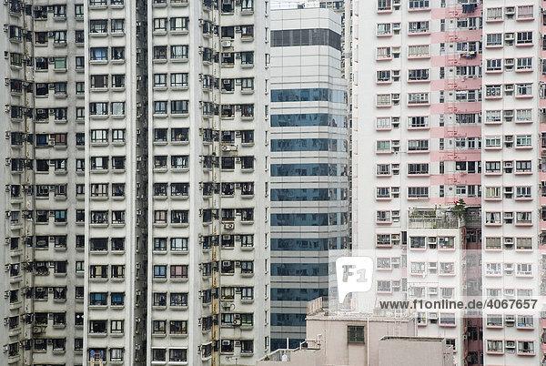 Fassaden  Hochhäuser  Hongkong  China  Asien
