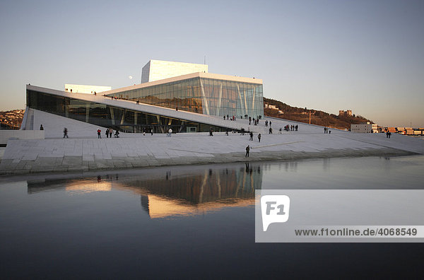 Oslo Opera House at Oslofjord with an accessible roof made of Carrara marble  Oslo  Norway  Scandinavia  Europe