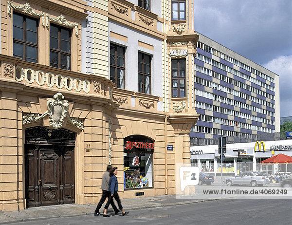 Romanus-Haus in der Katherinenstraße  filigrane Fassade im Barock-Stil  Leipzig  Sachsen  Deutschland  Europa