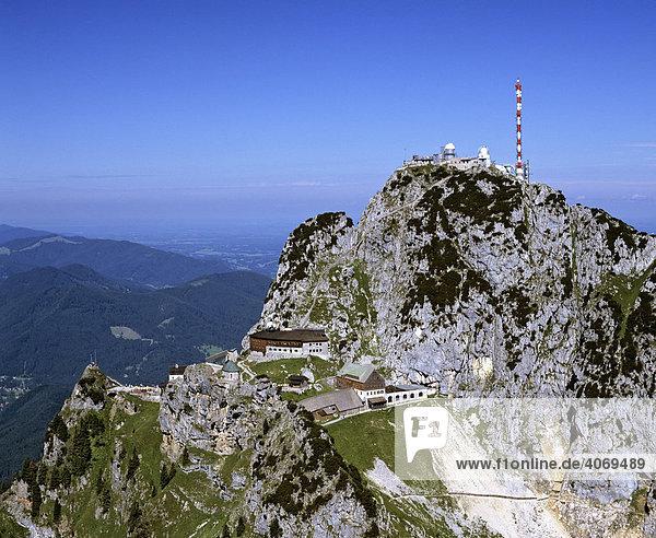 Wendelstein  Sendeanlage Wendelstein  Mangfallgebirge  Bayerische Voralpen  Oberbayern  Bayern  Deutschland  Europa  Luftbild