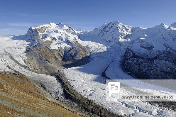 Blick vom Gornergrat auf Monte Rosa Massiv  Grenzgletscher  Liskamm  Zermatt  Wallis  Schweiz  Europa