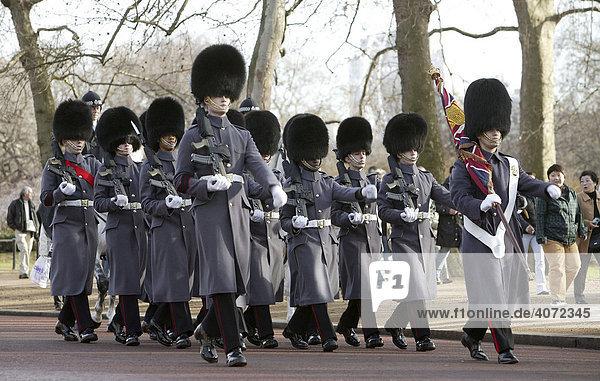 Wachmänner der Royal Guard in London  England  Großbritannien  Europa