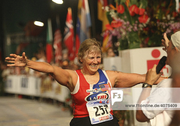 67-year-old Peggy McDowell-Cramer  USA  at the end of the Ironman-Triathlon-World Championship  10/11/2008  Kailua-Kona  Hawaii  USA