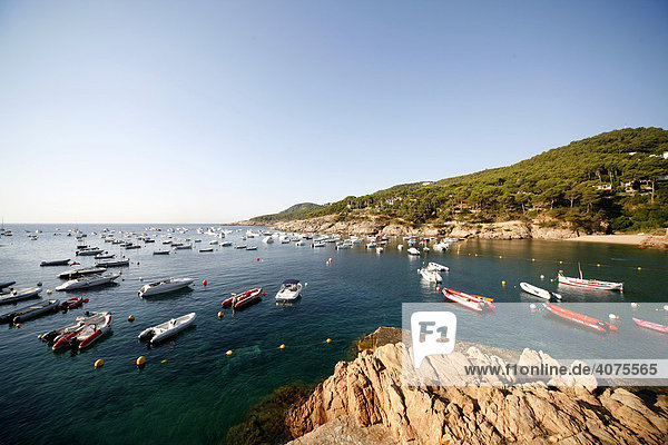 Blick auf die Bucht von Tamariu  Costa Brava  Katalonien  Spanien  Europa
