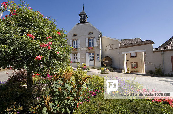 Blumengeschmückter Platz vor Häusern  Hauttiliers  Champagne  Frankreich  Europa