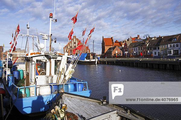 Fischereischiffe und Fischerboote im Alten Hafen von Wismar an der Ostseeküste  Ostseebad  UNESCO-Weltkulturerbe Hansestadt Wismar  Mecklenburg-Vorpommern  Deutschland  Europa