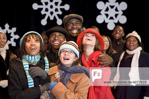 Mosaic Youth Theatre's production of Woodward Wonderland  a play about Christmas in Detroit  Michigan  USA
