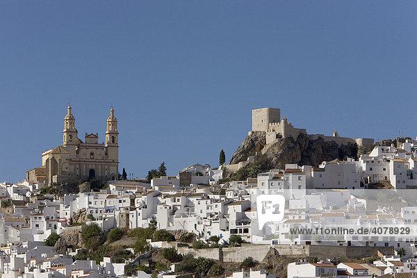 Weißes Dorf  Kirche Nuestra Señora de la Encarnación  Festung  Olvera  Andalusien  Spanien  Europa