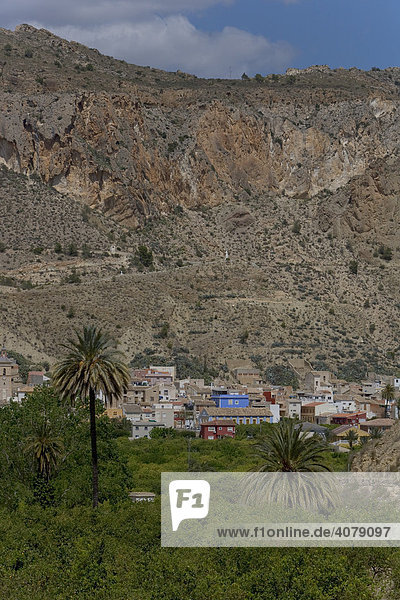 Häuser  Landwirtschaft im Tal von Ricote  Ojos  Region Murcia  Spanien  Europa
