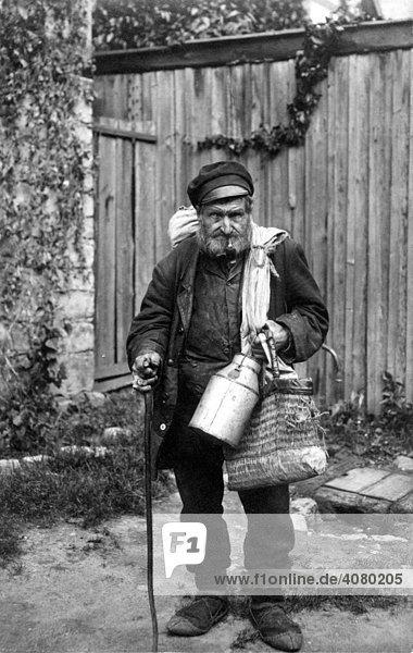 Historische Aufnahme  Obdachloser  ca. 1915