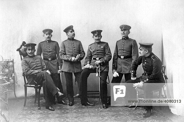 Historische Aufnahme  Soldatengruppe  Offiziere  ca. 1915  1. Weltkrieg