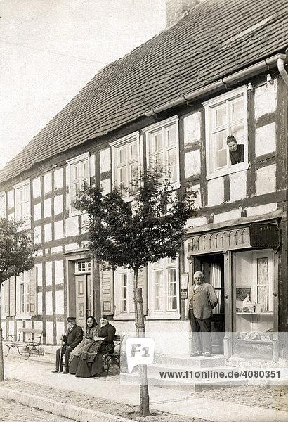 Historische Aufnahme  Fachwerkhaus  Dorfidylle  ca. 1910