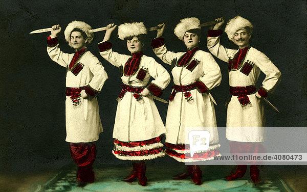 Historische Aufnahme  Tscherkessen Gesang & Tanz Truppe  ca. 1920