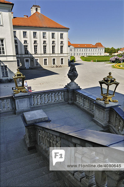 View from the stairs looking northeast to the park of Schloss Nymphenburg Palace  Munich  Bavaria  Germany  Europe