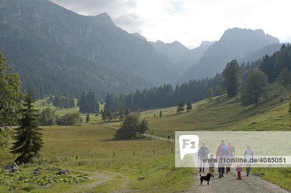 Hiker in the Laengental on their way to the Hinteren Laengental lodge hut at the northern side of the Benediktenwand in the Isar valley near Bad Toelz Tölz Bavaria Germany