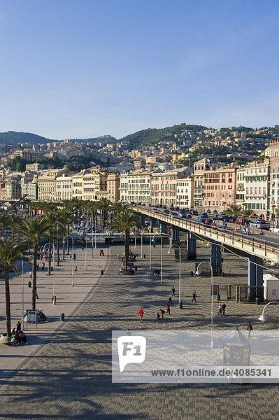 Genoa Genova Liguria Italy city motorway at the harbor