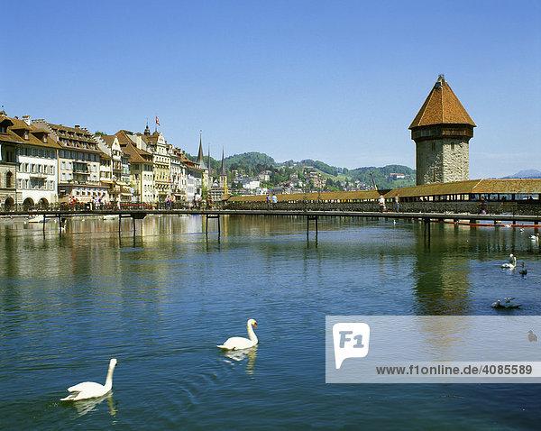Luzern Kanton Luzern Schweiz Altstadt mit der Kapellbrücke über der Reuss