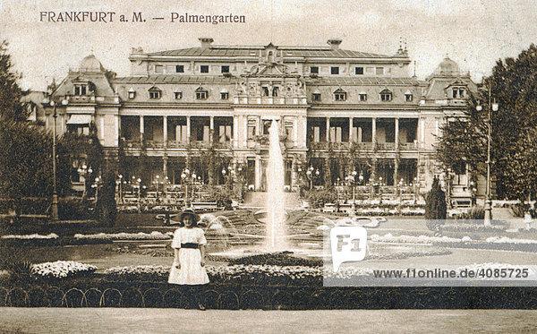 Historische Postkarte um 1900 Frankfurt am Main Deutschland Palmengarten