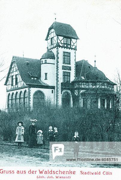 Historische Postkarte um 1900 Köln am Rhein Deutschland Restaurant im Stadtwald