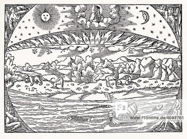 Die Erde nach der Schöpfung Holzschnitt von Sebastian Münster um 1550