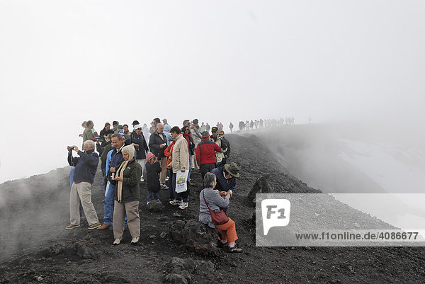 Mount Etna crater from the eruption 2002 Sicily Italy