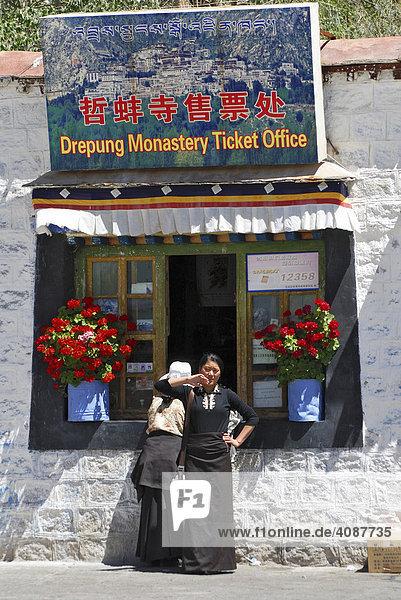 Ticket Office  Drepung monastery near Lhasa  Tibet  Asia