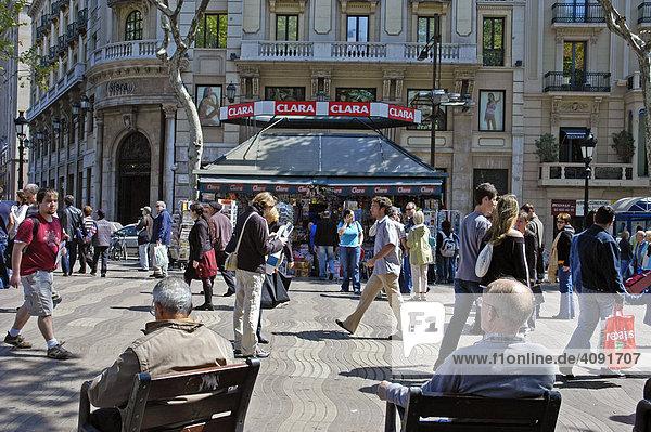 Las Ramblas  Flaniermeile  Barcelona  Katalonien  Spanien