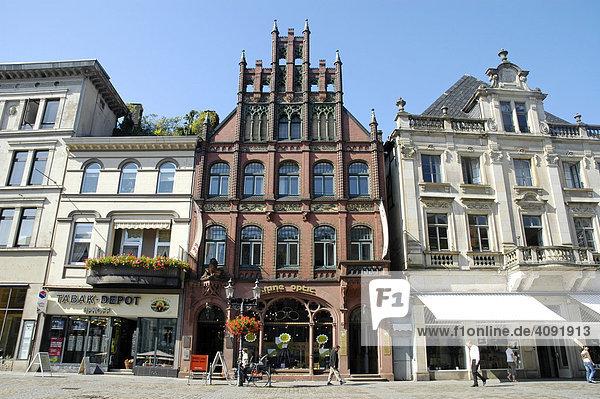 Historical houses at the market place  Minden  Teutoburg Forest  North Rhine-Westphalia  Germany