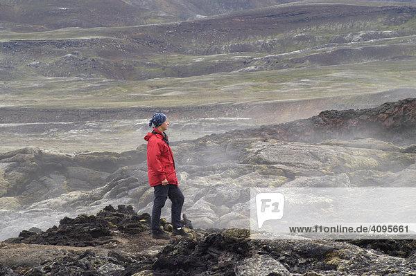 Das Vulkangebiet der Krafla Lavafelder der Ausbrüche in den 80er Jahren M_vatn Nordisland Island