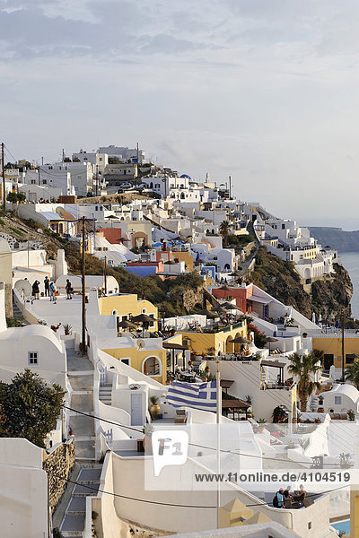 The village of Firostefani with the typical small alleys and the white painted houses  Firostefani  Santorini  Greece