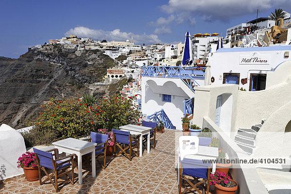 Terrace of a restaurant,  Thira,  Santorini,  Greece, Terrace of a restaurant,  Thira,  Santorini,  Greece