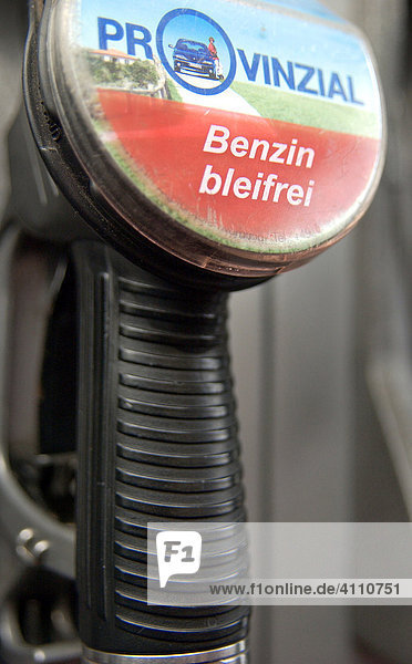 Provinzial offers unleaded gasonile - Writing on a fuel nozzle  Germany