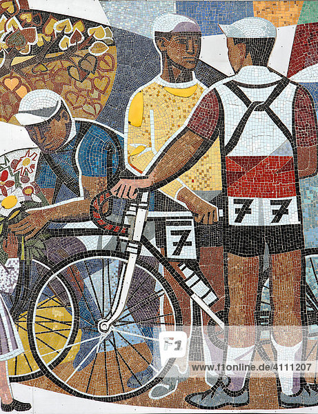 Socialistic wall mosaic made by Walter Womacka - Haus des Lehrers in Berlin  Germany  Europe