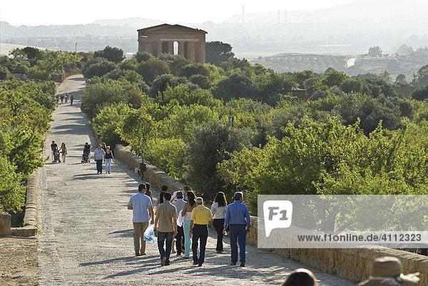 Tourist walking along a street leading to the Concordia Temple  Valle dei Templi  Agrigento  Sicily  Italy