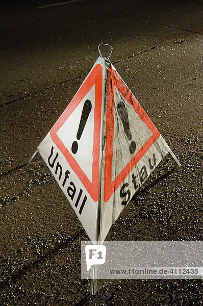 Accident warning sign after a road accident on the A8 near Neuhausen  Denkendorf  Esslingen Region  Baden-Wuerttemberg  Germany  Europe