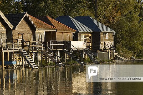 Bootshäuser am Ammersee  Bayern  Deutschland