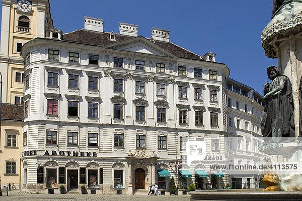 Schubladkastenhaus und Austriabrunnen  Freyung  Wien  Österreich