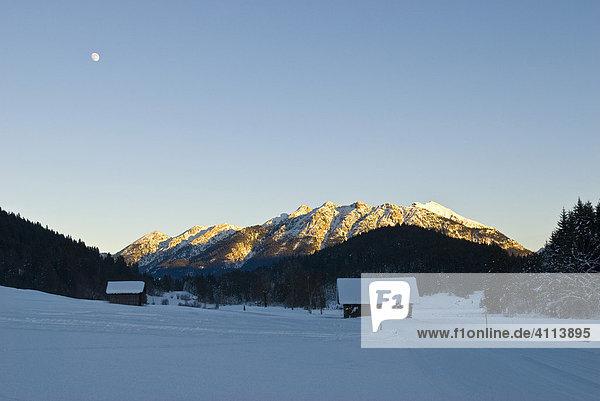 Karwendel Mountainrange panorama from Gerold in winter  Bavaria  Germany