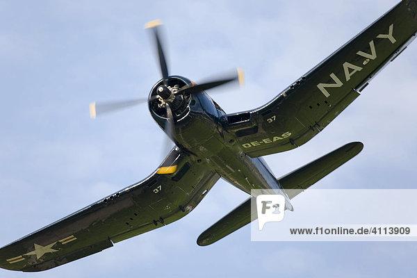 Chance Vought F4U-U Corsair in the case of a flight show