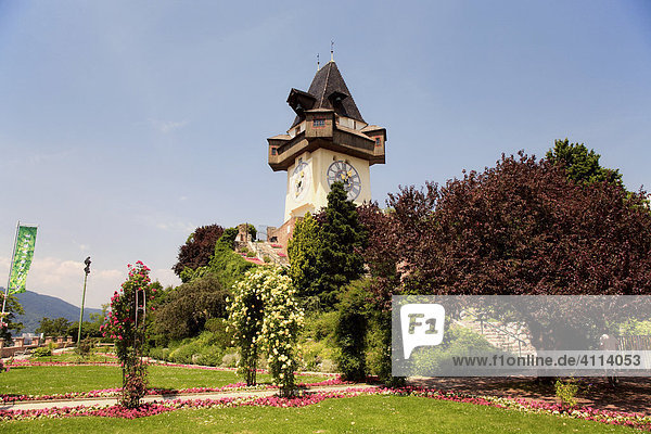 Grazer clock tower on the castle mountain in Graz  Styria  Austria